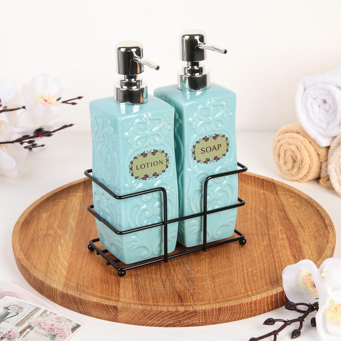 Набор дозаторов для жидкого мыла и моющего средства, цвет голубой - фото 798469113