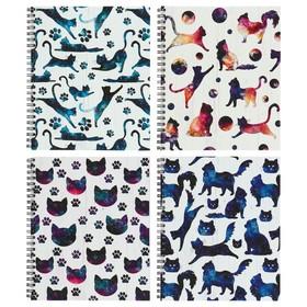 Тетрадь 96 листов в клетку, на гребне «Космические коты», обложка мелованный картон, ВД-лак, МИКС