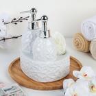 Дозатор для моющего средства и мыла с губкой «Дабл», 650 мл, цвет белый