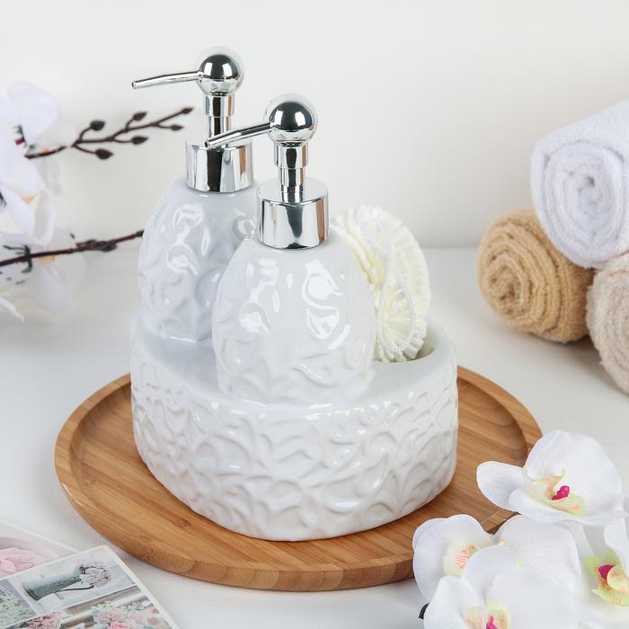 Дозатор для моющего средства с подставкой для губки и мыла Доляна «Дабл», 650 мл, цвет белый - фото 798469730