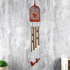 """Музыка ветра металл, дерево 4 трубки """"Птица в клетке"""" 68х10 см"""