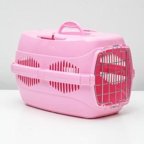 """Переноска для животных до 9 кг """"Пижон"""", металлическая дверь, 43 х 29 х 27,5 см, розовая"""