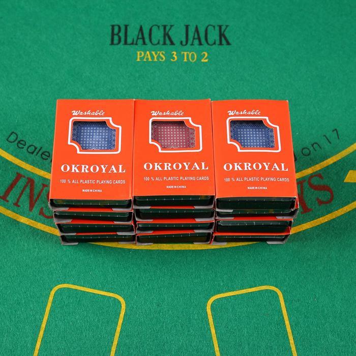 """Карты игральные пластиковые """"Royal"""", 54 шт, 19 мкм, 8.8×5.7 см, микс"""