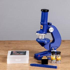 """Микроскоп """"Биология"""", кратность увеличения 450х, 200х, 100х, с подсветкой,  синий"""