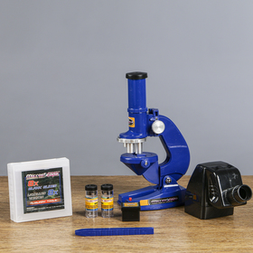 Микроскоп «Отличник», увеличение х100, 200, 450, 8 стёкол, пинцет, 2 баночки, проектор Ош