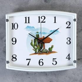 """Часы настенные, серия: Детские, """"Кактус"""",  30х3х27 см, 1 АА,  плавный ход"""
