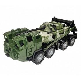 Военный тягач «Щит» с танком, цвет камуфляж
