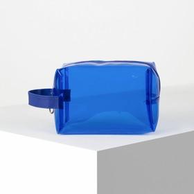 Косметичка ПВХ, отдел на молнии, с ручкой, цвет синий - фото 1770168