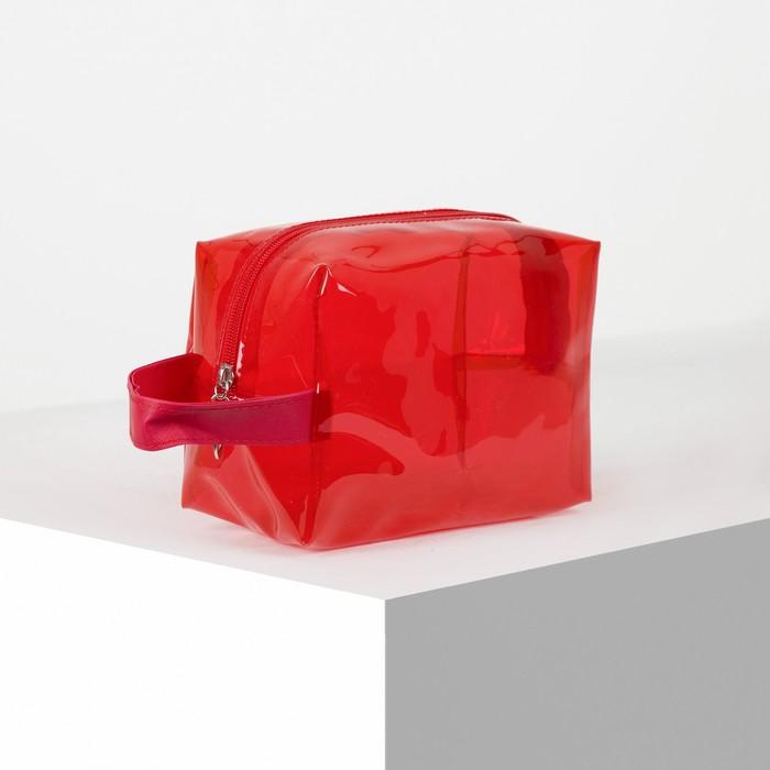 Косметичка ПВХ, отдел на молнии, с ручкой, цвет красный - фото 798470414