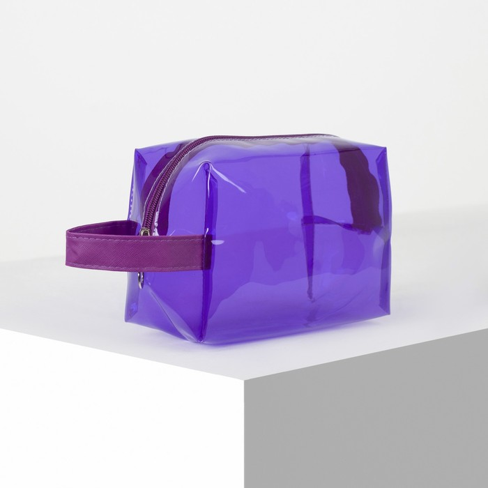 Косметичка ПВХ, отдел на молнии, с ручкой, цвет фиолетовый - фото 1770175