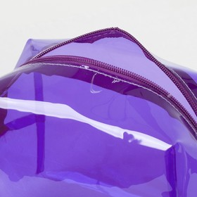 Косметичка ПВХ, отдел на молнии, с ручкой, цвет фиолетовый - фото 1770178