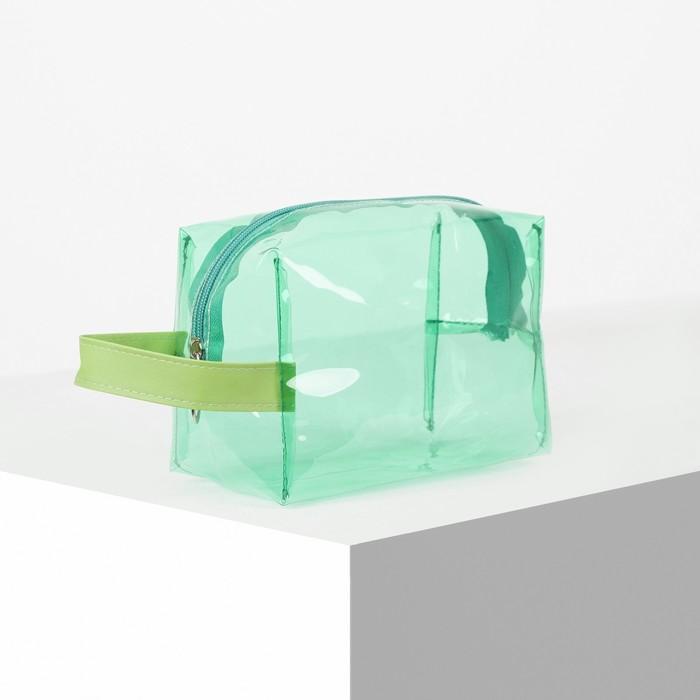 Косметичка ПВХ, отдел на молнии, с ручкой, цвет зелёный - фото 1770183