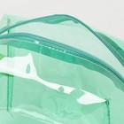 Косметичка ПВХ, отдел на молнии, с ручкой, цвет зелёный - фото 1770186