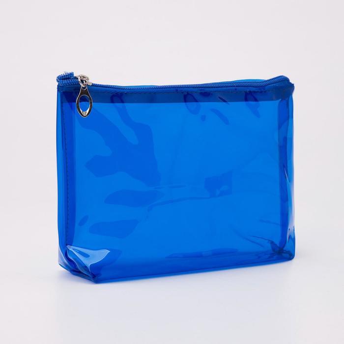 Косметичка ПВХ, отдел на молнии, цвет синий - фото 798470434