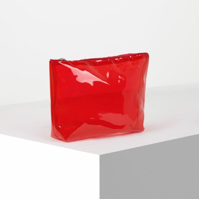 Косметичка ПВХ, отдел на молнии, цвет красный - фото 798470438