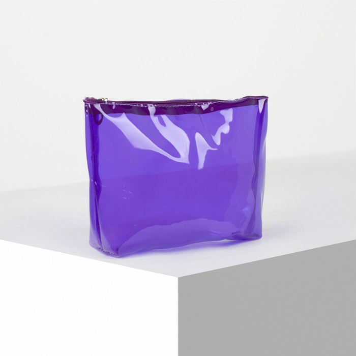 Косметичка ПВХ, отдел на молнии, цвет фиолетовый - фото 798470442