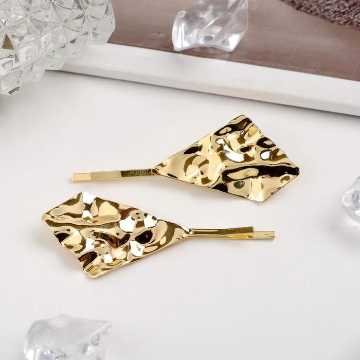 """Невидимка для волос """"Стиль"""" (набор 2 шт) 6 см, геометрия, золото"""