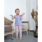 Блузка с короткими рукавами для девочки MINAKU, рост 98, цвет фиолетовый/белый - фото 76125465