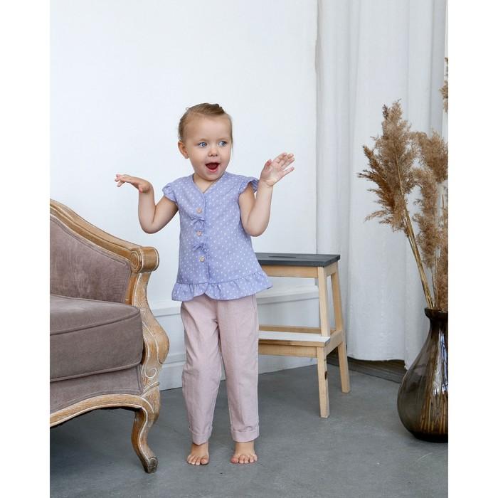 Блузка с короткими рукавами для девочки MINAKU, рост 98, цвет фиолетовый/белый - фото 798471057
