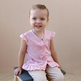 Блузка с короткими рукавами для девочки MINAKU, рост 104, цвет розовый/белый