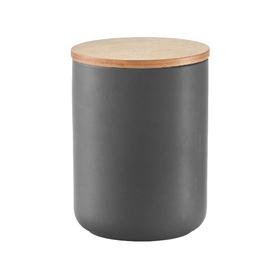 Банка для хранения продуктов 1150 мл,12×16 см, керамика/бамбук, антрацит