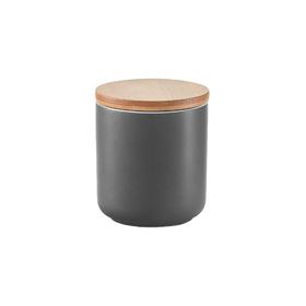 Банка для хранения продуктов 200 мл, 7.5×8.5 см, керамика/бамбук, антрацит
