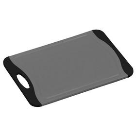 Доска разделочная 36.5×25×0.9 см, пластик, серый/чёрный