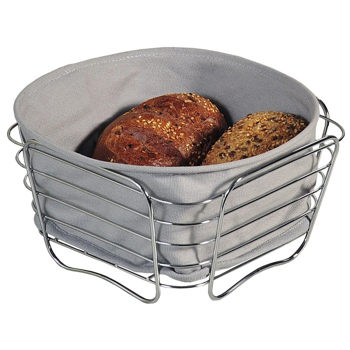 Хлебница 21×21×11см, металл/текстиль, серая