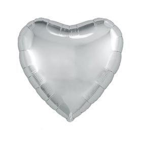 """Шар фольгированный 30"""", сердце, цвет серебристый"""