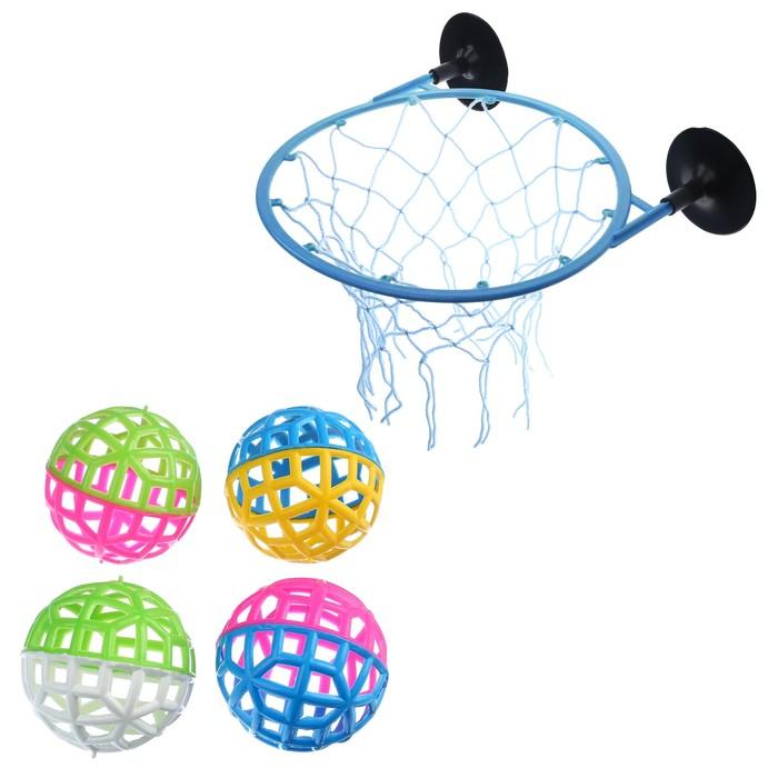 """Игра """"Мини-баскетбол"""", 20.4х1х2 см, набор, кольцо (D=21 см)+4 мяча(D=9 см) , микс"""