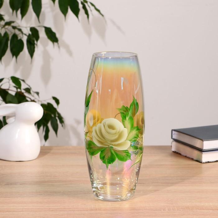 Ваза  FLORA 'Белая роза' (дымка) d-8см 11,5х26 см - фото 7400215