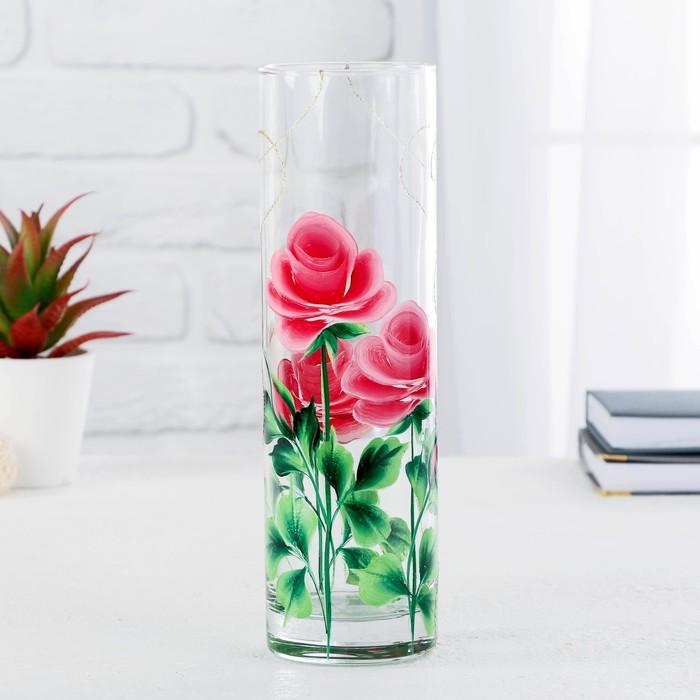 Ваза  FLORA 'Розовое трио бордо' 7,5х26,5 см