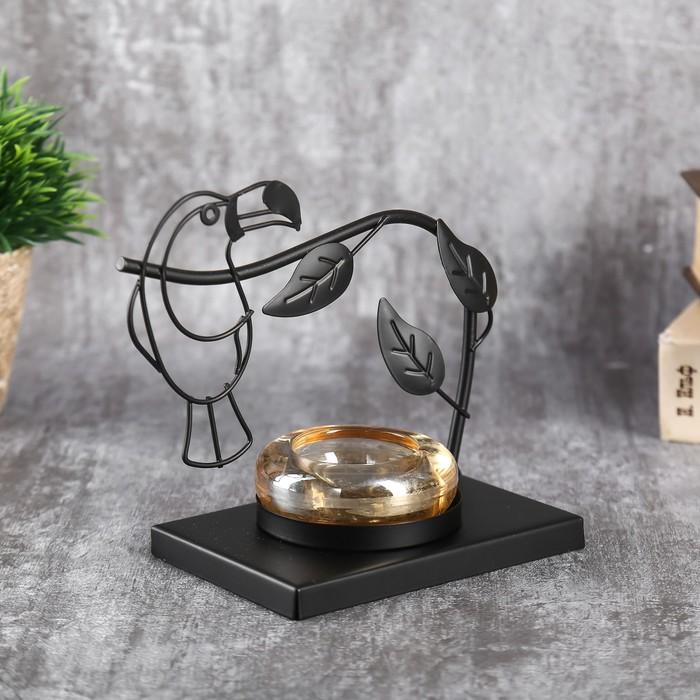 """Подсвечник металл, стекло на 1 свечу """"Тукан на ветке"""" чёрный 13,5х15х8 см - фото 798471291"""