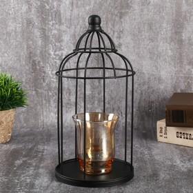 "Подсвечник металл, стекло на 1 свечу ""Купол"" чёрный 26,5х13х13 см"