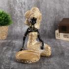 """Сувенир полистоун подсвечник """"Африканка в золотом платье с орнаментом"""" 18,5х12х15,7 см"""