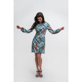 Платье женское MIST, трапеция с длин рукавом, бирюз, р. 40-42