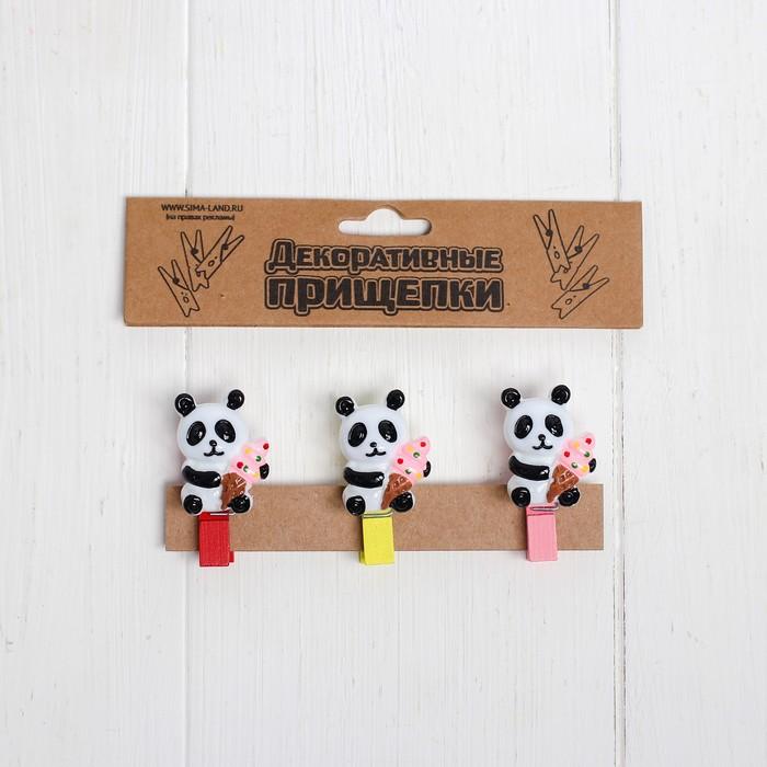 Набор декоративных прищепок «Панда с мороженым» 2×12,5×10,5 см, МИКС - фото 419765