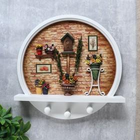 """Крючки декоративные дерево """"Клумбы с розами"""" 32х32х6,5 см"""