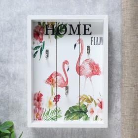 """Крючки декоративные дерево """"Фламинго и цветы"""" 25х18х4 см"""