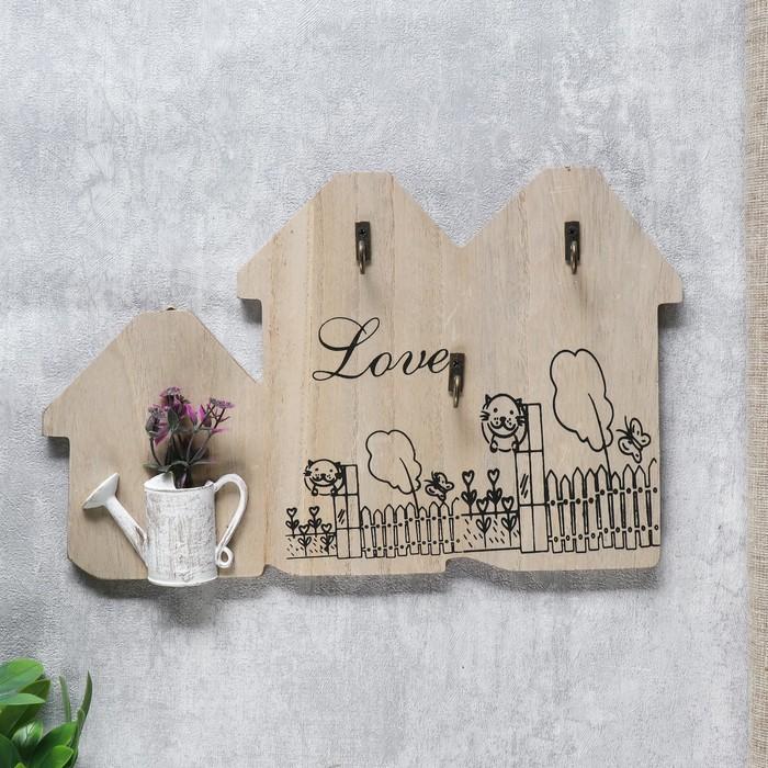 """Крючки декоративные дерево """"Лаванда в лейке"""" 18,5х30,5х3 см - фото 798471833"""