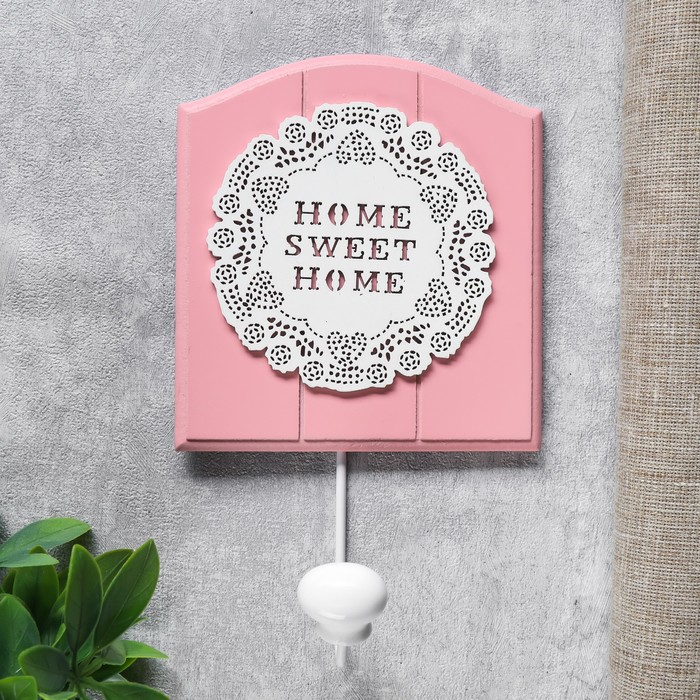 """Крючок декоративный дерево """"Цветочное кружево"""" розовый 21,5х5х13 см - фото 798471863"""