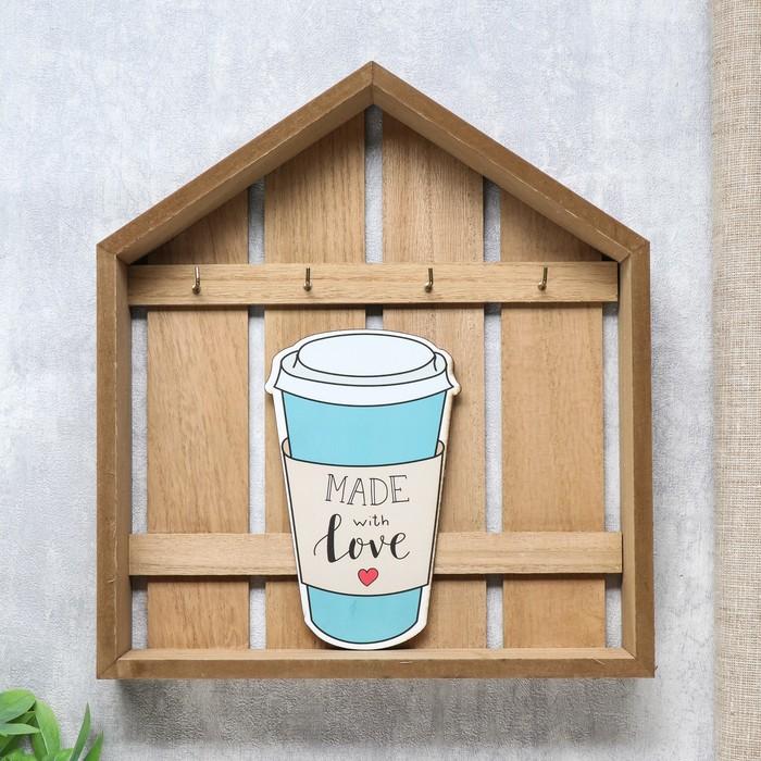 """Крючки декоративные дерево """"Напиток. Made with love"""" 30х4,5х26,5 см"""