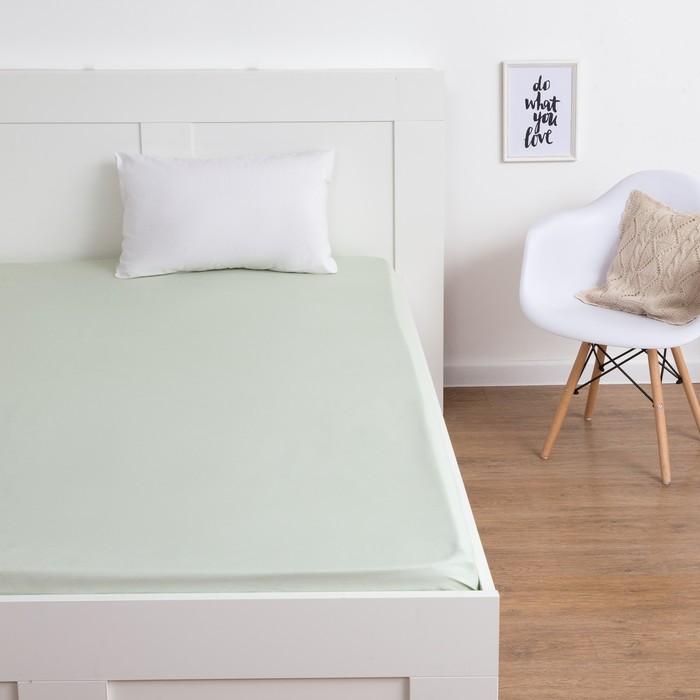 Простыня Этель «Полоски» цвет фисташковый, 150х210 см, сатин