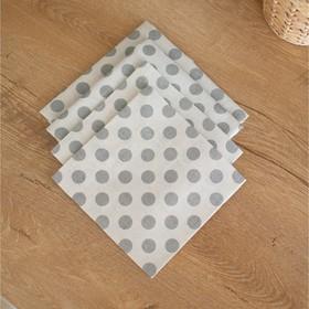 Салфетка, размер 35 × 35 см, принт горох, цвет серый-4 шт