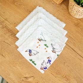 Набор салфеток, размер 35 × 35 см, 4 шт, принт гуси, цвет белый