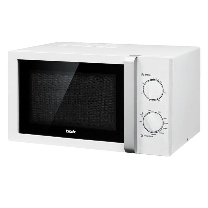 Микроволновая печь BBK 23MWG-845M/WS, 900 Вт, 23 л, 6 ступеней мощности, бело-серебристая
