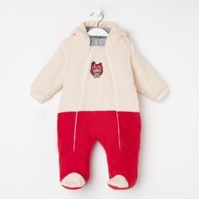 Комбинезон детский, цвет красный/молочный, принт микс, рост 56-62 см (18)