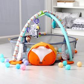 Развивающий коврик «Лисичка», 3в1, игрушки, 30 цв.шаров, 68 см