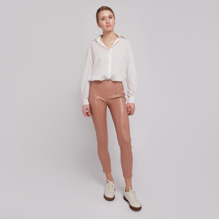 Брюки женские MINAKU: Leather look, цвет пудра, размер 44 - фото 798472348