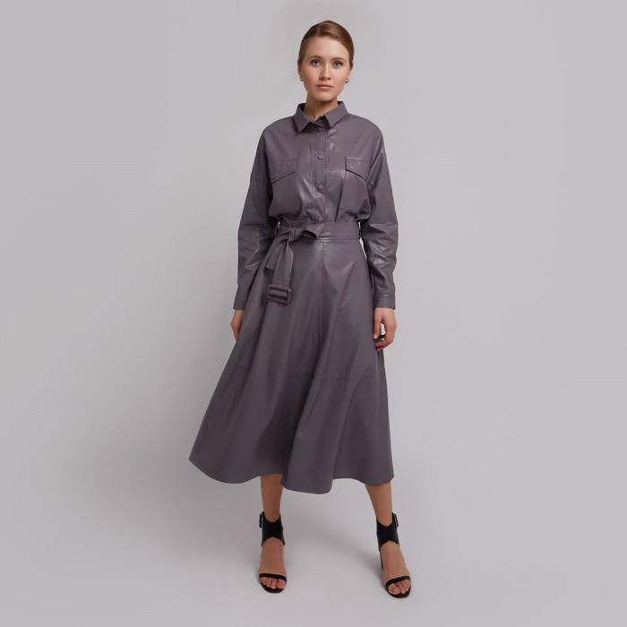 Юбка женская MINAKU: Leather look, цвет серый, размер 42 - фото 798472390